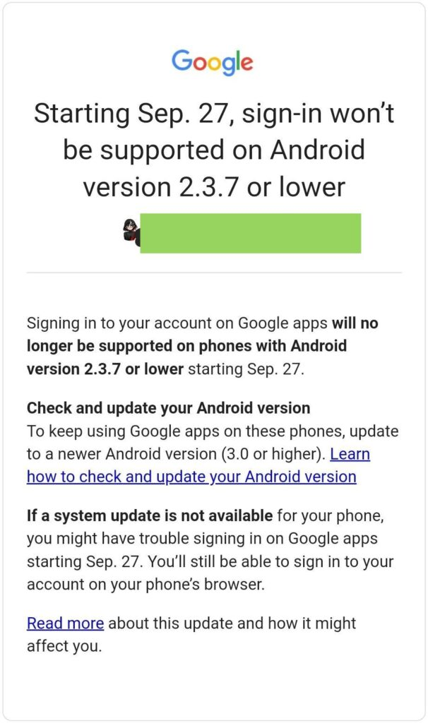 Google sign in will not be supported in old version androids