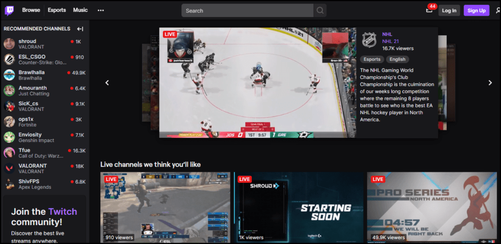 Twitch Homepage